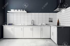 Modern White Kitchen Interior 3d Rendering Stockfoto Und Modern White Kitchen Interior Style And Design Concept 3d Rendering