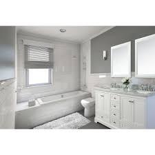 Elizabeth 60Inch Double Sink Carrara White Marble Vanity In Monarch Blue