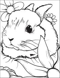 Rabbit Sitting In Flowers Coloring Page For Kids