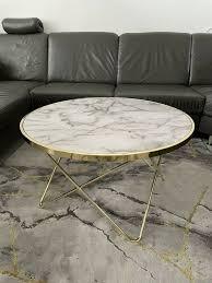 couchtisch rund marmor optik weiß gold wohnzimmer tisch