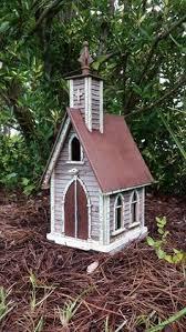 Shabby WHITE Gingerbread Victorian CHURCH Wood Fairy Garden Bird House Birdhouse Unbranded Birdhouses