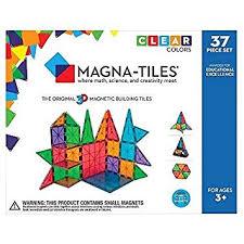 amazon com magna tiles clear colors 37 piece set 14837 toys