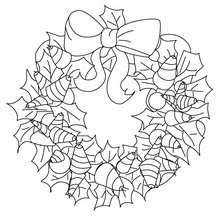 Ribbons And Holly Wreath Cute Gold Christmas Crown Coloring Page