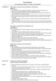 Industrial Maintenance Technician Resume Sample