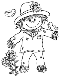 Pumpkin Patch Coloring Pages by Cute Scarecrow Coloring Pages Getcoloringpages Com
