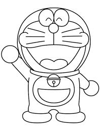 Doraemon Waving Coloring Page