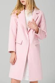 Eavnos Light Pink Wool Blend Lapel Collar Coat