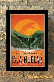 JURASSIC PARK Isla Nublar Travel Poster Vintage Print Geekery