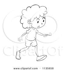 Cartoon A Black And White Egg Race Girl 2 Royalty Free Vector Clipart by Graphics RF