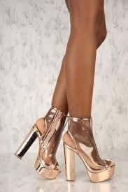 rose gold clear peep toe platform pump chunky heel booties