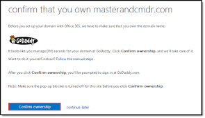 Setting up GoDaddy domains in fice 365 Master & CmdR