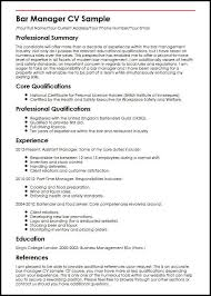 Bar Manager CV Sample