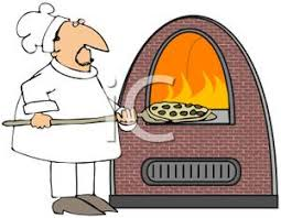 A Chef Baking a Pizza In a Fire Clip Art Image