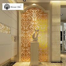 mosaic collages golden flower pattern vines wall deco mosaics