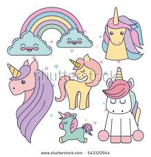 Drawing Cute Set Unicorns Icon Vector Illustration Design