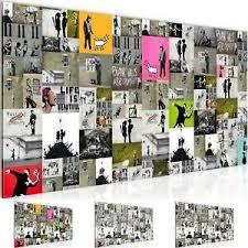 wandbild modern wohnzimmer collage banksy bunt