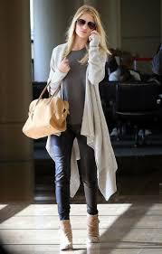 rosie huntington whiteley wearing beige open cardigan charcoal