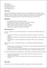 Professional Building Maintenance Engineer Templates To Showcase Resume Printable Sample