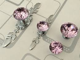 pink glass dresser knob pull crystal drawer knobs pulls handle