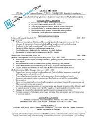 Medical Transcription Resume Samples Job Examples Lovely Sample Med