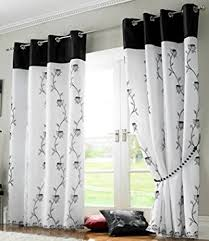 Amazon Prime Kitchen Curtains by Tahiti Embroidered Lined Voile Eyelet Curtains Black 56 X 54