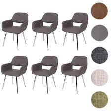 6x esszimmerstuhl hwc a50 stuhl küchenstuhl retro kunstleder grau