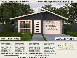 104 Skillian Roof Skillion Duplex Design 4 Bedroom Dual Family House Plan 203du Skillion 2020 Ebooksz