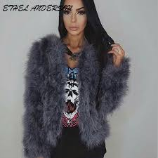 2017 spring fashion ostrich feather coat short jackets for