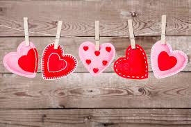 Download Clothesline With Valentines Day Hearts Decorations Stock Photo