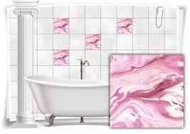 fliesen aufkleber folie marmor öl ölfarben abstrakt rosa creme weiß bad wc deko küche