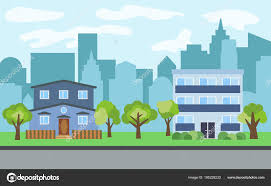 100 Three Story Houses Vector City With Threestory And Twostory Cartoon Houses And Green