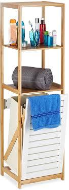 relaxdays badregal mit wäschekorb badezimmer regal bambus standregal schmal 3 fächer hxbxt 130 x 37 x 33 cm natur