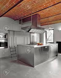 100 Brick Ceiling Modern Steel Kitchen Island With Concrete Floor And