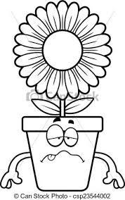 pot fleurs dessin animé malade regarder pot fleurs clipart
