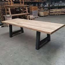 details zu tisch esstisch küchentisch teak altholz massivholz eisengestell unikat 240 x 100