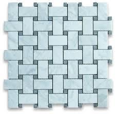 12 x12 carrara white basketweave mosaic black dots honed chip