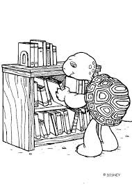 Harriet Turtle Reading Books Coloring Page