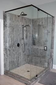 Bathtub Doors Oil Rubbed Bronze by Master Bathroom With Grey Shaker Vanity Porcelain Tile Pebble