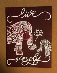 Maroon Paisley Elephant Canvas Painting Live Simply
