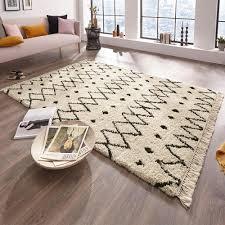 design teppich hochflor calla creme braun mit fransen teppich