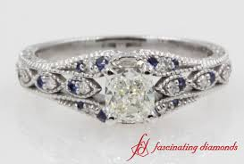 Vintage Style Cushion Cut Diamond Engagement Ring In 14K White Gold