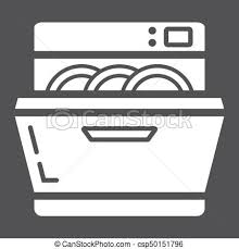Dishwasher Solid Icon Kitchen And Appliance Vector Graphics A Glyph Pattern On Black Background Eps 10