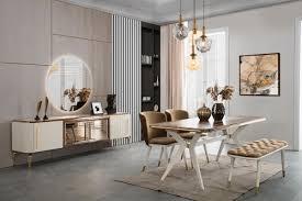 casa padrino luxus deco esszimmer set braun weiß gold 1 esszimmertisch 4 esszimmerstühle 1 sitzbank deco esszimmer möbel