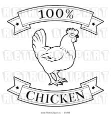 Vector Clip Art of a Retro 100 Percent Chicken Food Banners with a Rooster