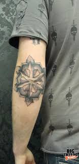 Amazing Grey Mandala Flower Elbow Tattoo