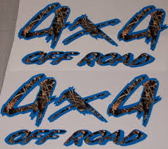 4X4 #1 BLUE And M4 Real Tree CAMO PAIR FULL COLOR Bed Side 14