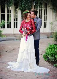 Beautiful Rustic Vintage Inspired Red And White Separates Long Sleeved Casual Wedding Dress
