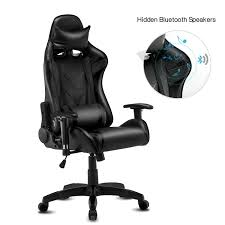 High-Back Swivel Gaming Chair Recliner With Bluetooth 4.1 Version Speakers  & Lumbar Support & Headrest   Height Adjustable Ergonomic Office Desk Chair Gurugear 21channel Bluetooth Dual Gaming Chair Playseat Bluetooth Gaming Chair Price In Uae Amazonae Brazen Panther Elite 21 Surround Sound Giantex Leisure Curved Massage Shiatsu With Heating Therapy Video Wireless Speaker And Usb Charger For Home X Rocker Vibe Se Audi Vibrating Foldable Pedestal Base High Tech Audio Tilt Swivel Design W Adrenaline Xrocker Connectivity Subwoofer Rh220 Beverley East Yorkshire Gumtree Pro Series Ii 5125401 Black
