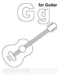 G For Guitar Coloring Page With Handwriting Practice