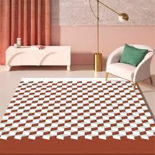 nordic teppich 3d cube platz print große boden teppich blau